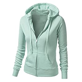 Ladies Lightweight Zip-up Sweatshirt Women's Casual Hoodie Jacket