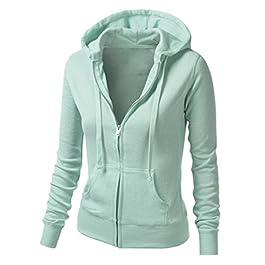 Bookear Ladies Lightweight Zip-up Sweatshirt Womens Solid Color Coat Casual Hoodie Jacket