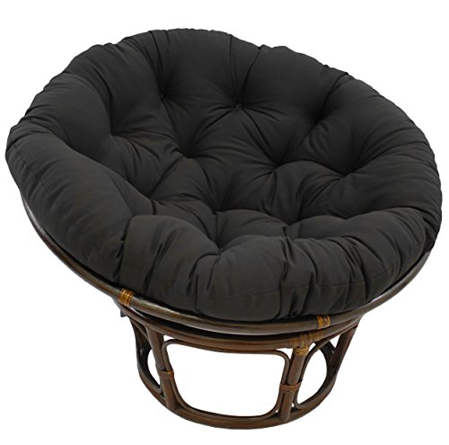 Blazing Needles Solid Twill Papasan Chair Cushion, 48' x 6' x 48', Black