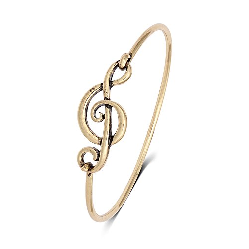 SENFAI Elegant Musical Note Deisgn Bangle Openable Hook Bracelet Bangle Jewellery (Antique -