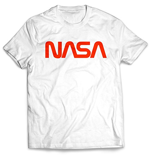 Men's Retro Vintage NASA Worm Logo Premium Soft T-Shirt (White) (Large)