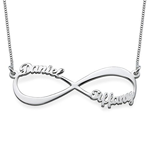 Couples Infinity Pendant Name Necklace in Sterling Silver - Custom Made Gift For Her! Endless (Sterling Silver Couples Name Pendant)
