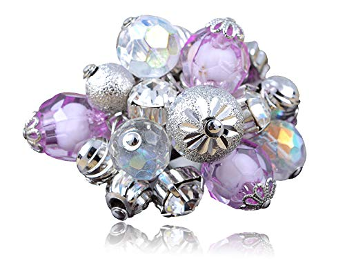 Silver Metal Purple Beads and Baubles Cluster of Stones Trendy Fashion Ring New