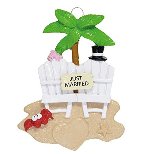 Personalized Just Married Christmas Ornament for Tree 2018 - Bride and Groom on Beach Chair Summer Wedding Palm Heart Sand - Mr. & Mrs. Ceremony Romantic in Love - Free Customization by Elves