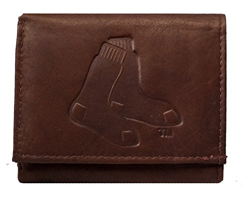 Boston Red Sox Credit Card (Boston Red Sox MLB Embossed Logo Dark Brown Leather Trifold Wallet)
