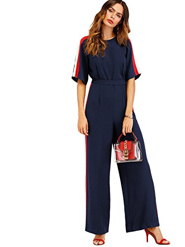 Verdusa Womens Round Neck Self Tie Waist Belted Loose Culottes Jumpsuit