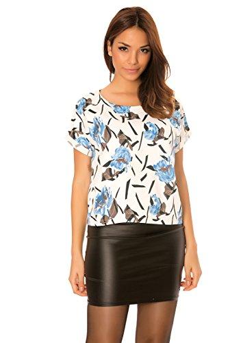 dmarkevous - Top T-shirt Blanc femme à manches courtes et motifs fleurs Turquoise - S-M, turquoise