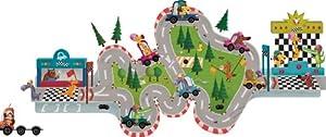 Janod 02847 Magnetische Wandsticker Rennbahn mit Spielmagneten