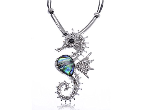 Alilang Womens Silvery Tone Abalone Colored Stone Nautical Seahorse Pendant Cord Necklace (Sexy Nautical Costume)