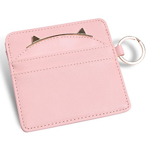 Girl Card Holder (Nico Louise Cat Ear Leather Coin Purses Women Key Chain Credit Card Holders Girls Wallet (Pink))