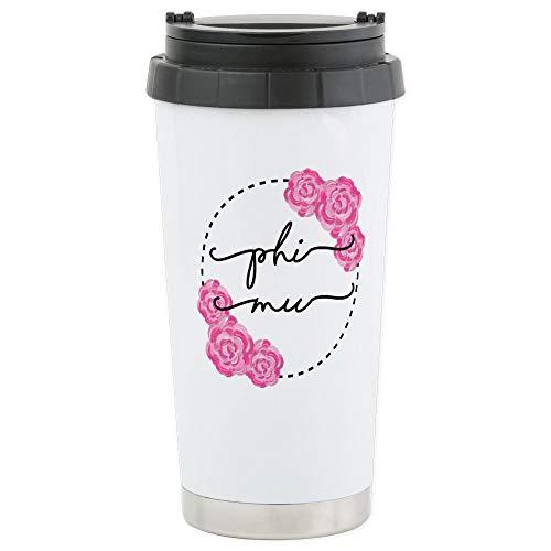 CafePress Phi Mu Floral Stainless Steel Travel Mug, Insulated 16 oz. Coffee Tumbler