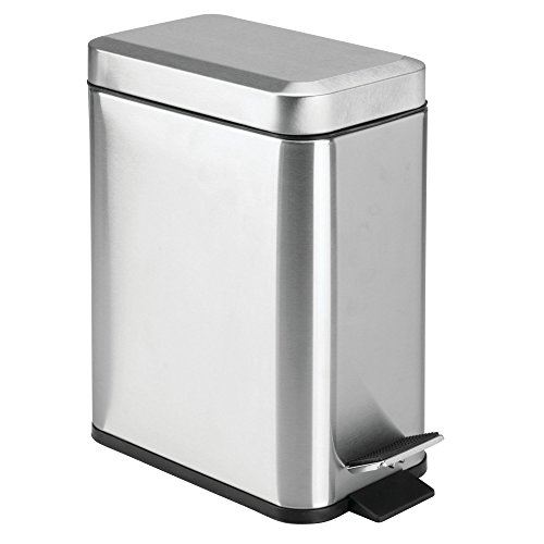 mDesign 5 Liter Rectangular Small Stainless Steel Step Trash Can Wastebasket, Garbage Container Bin for Bathroom, Powder Room, Bedroom, Kitchen, Craft Room, Office – Removable Liner Bucket, Brushed