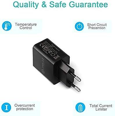 2-Pack】Quick Charge 3.0 Cargador de pared USB,18W de carga rápida ...