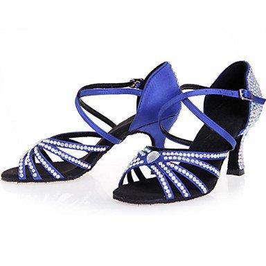 Personalizables Marrón Tacón brown KYDJ Baile Carrete Zapatos Azul Rojo Negro de Latino wRqX4pO8
