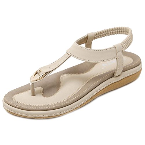 with Designed Summer and Beige Flop Flip for Flat SJJH Simple Heel Bohemia Sandals wxIqZUWHAO