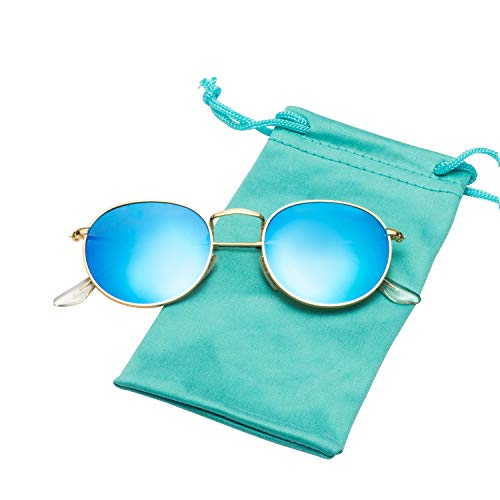 LianSan Classic Retro Metal Frame Round Circle Mirrored Sunglasses for Men and Women Glasses 3447 Sky Blue Glass Lens
