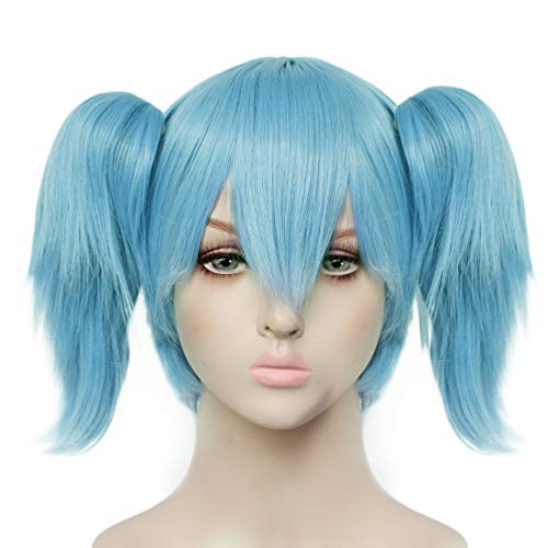 JoneTing Blue Cosplay Wig with Pigtails Synthetic Wig for Men Short Blue Wig Cosplay Costume