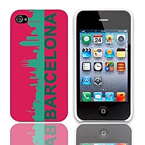 DD Barcelona Pattern Hard Case with 3-Pack Screen Protectors for iPhone 4/4S