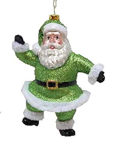 December Diamonds Blown Glass Ornament - Green Santa Blown Glass Santa Ornament