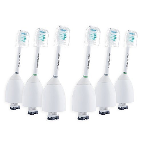 Great Value Tech (6 Pack) E series for Philips Sonicare Advance eSeries, Essence, Elite, CleanCare, Xtreme Hx7002