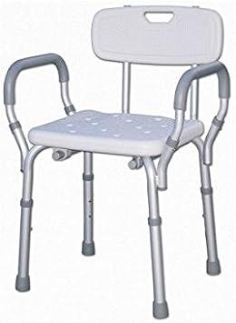 Silla de ducha con respaldo y reposabrazos, silla de bañera ...
