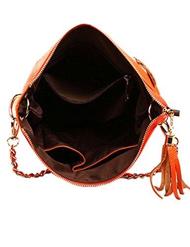 100% Original Cómoda Precio Barato Menschwear Borse a tracolla di borse della borsa della borsa di cuoio delle donne Bianco Arancione ba3rA