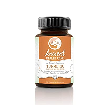 Ancient Health Care Turmeric Curcumin with Bioperine - Anti-inflammatory, Antioxidant Ayurvedic Herb - 95% Curcumin C3 Complex + Black Pepper, Joint Pain Relief - 500mg - 90 Veggie Caps - Made in USA