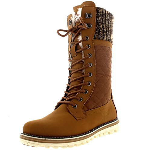 Polar Womens Winter Thermal Snow Outdoor Warm Mid Calf Waterproof Durable Boot - Tan - US9/EU40 - YC0377