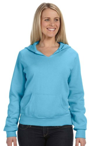(Chouinard Comfort Colors Pigment-Dyed Ladies' Frayed Hooded Pullover Sweatshirt. 1595 - Large - Lagoon Blue)