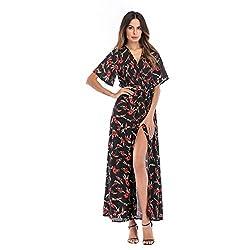 Amore Bridal Women?��s Sexy Deep V Neck Floral Print Casual Short Sleeve Long Beach Dress
