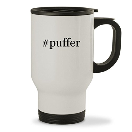 Price comparison product image #puffer - 14oz Hashtag Sturdy Stainless Steel Travel Mug, White