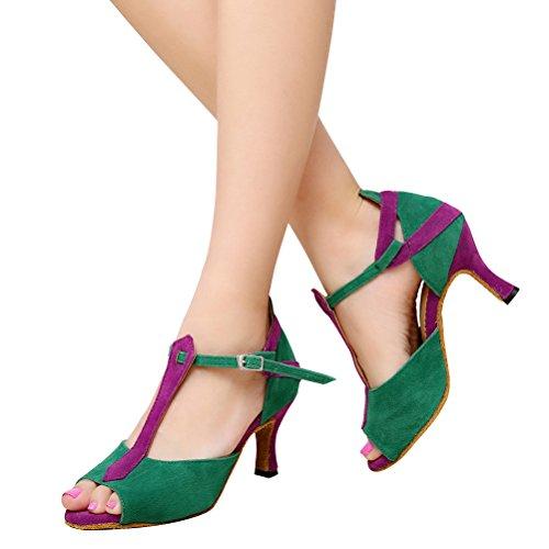 BCLN Womens Open toe Sandals Latin Salsa Tango Heels Practice Ballroom Dance Shoes with 2.75