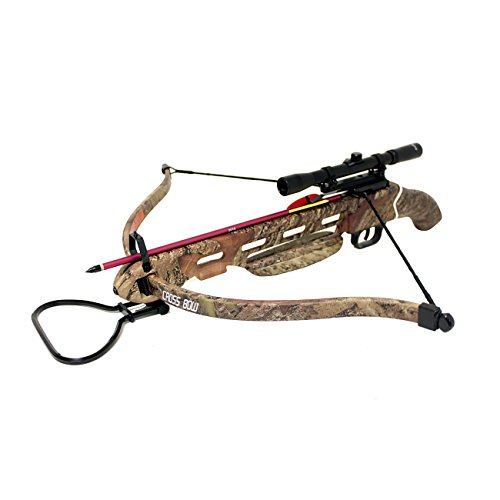 Wizard Archery 150lbs Short Stock Pistol Style Crossbow with 4x20 Scope + 8 x Arrows and Rope Cocking Device (Desert Camo)