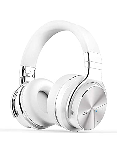 cowin PRO  Upgraded  Active Noise Cancelling Headphone Bluetooth Headphones with Microphone Hi-Fi Deep Bass Wireless Headphones Over Ear 30H Playtime for Travel Work Computer Phone-White