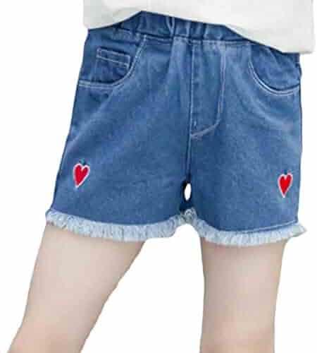 167d7aa76f Joe Wenko Girls Elastic Waist Denim Cut Off Classical Jeans Printed Short  Pants