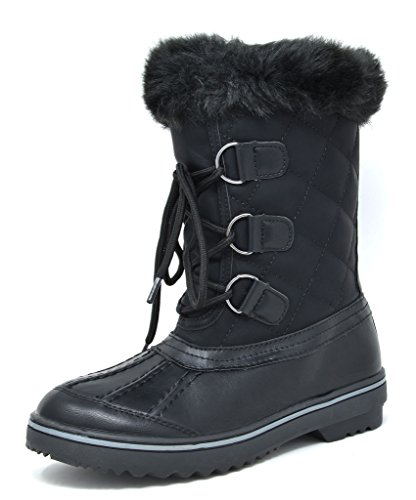 DREAM PAIRS Women's Swiss-Low Black Mid Calf Winter Snow Boots Size 9 M US (Ladies Snow Boots Size 9 Wide)