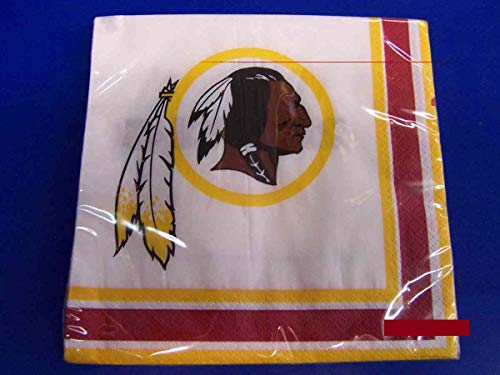 (Washington Redskins NFL Pro Football Sports Banquet Paper Beverage Napkins Football Game Day Sports Themed College University Party Supply NFL Napkins Beverage for 20 Red Yellow White Napkins)