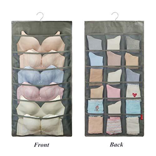 SHUTTLE GENIUS Dual-Sided Hanging Bra Storage Organizer,Closet Storage for Underwear Stocking Bra and Sock,Mesh Pockets with Metal Hanger (24 Pockets,Grey)