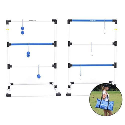 JOGENMAX Ladder Toss Indoor/Outdoor Lawn Games Set with 6 Bolo Balls, Portable Carrying Case and Score Trackers, 38 x 24 Inch