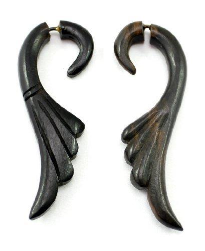 Krishna Mart India a Pair of African Tribal Ebony Organic Handmade Tibetan Black Wood Round Design Big for Women Girls Wooden Earrings Dangle Stainless Steel Fashion Jewelry Hippie Boho Gypsy Sew_149