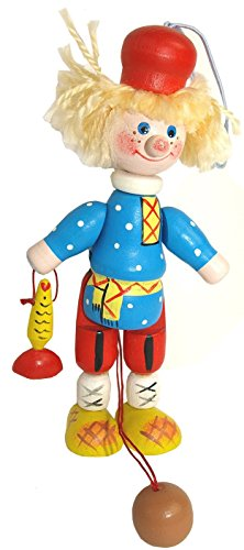 Jumping Jack Puppet - Country Bumpkin Doll - Vintage Wooden Pull Toy - Handpainted Movable Wooden Figurine