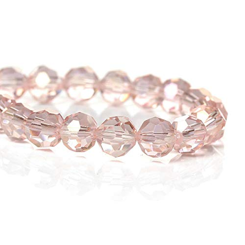 25 Crystal Beads - Baby Pink Faceted Glass Beads - 6mm (1/4') - BD709