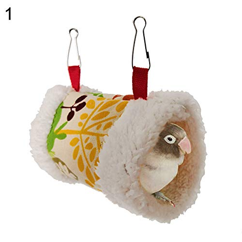 bromrefulgenc Bird Cotton Hammock,Triangle Square Plush Nest Bird Parrot Hanging Cave Hammock Cage Warm Bed Toy 1#