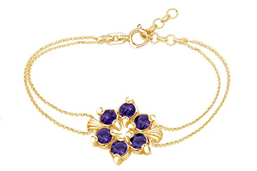 AFFY Round Shape Simulated Amethyst Flower Chain Bracelets in 14k Yellow Gold Over Sterling Silver -7.5