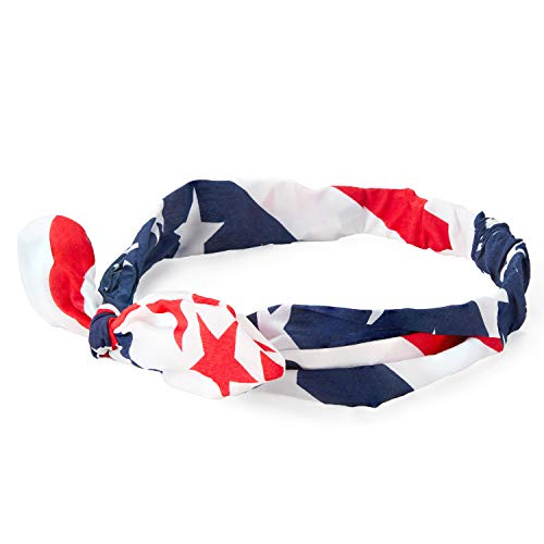 Juvale Set of 12 American USA Flag Bowknot Bandana Headbands for Fourth of July, Patriotic Hair Accessories, One Size