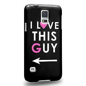 Case88 Premium Designs Art Couple Phone Case Series I Love This Guy Phone Case (Black) Carcasa/Funda dura para el Samsung Galaxy S5