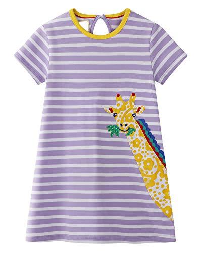GSVIBK Kid Cotton Dress Girls Cute Cartoon Dress Baby Casual Dress Toddler Short Sleeve Cartoon Dress Giraffe 359 ()