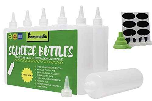 Homenadic 7-Pack Plastic Squirt Squeeze Bottle (16 Ounce) - For Ketchup, BBQ, Sauces, Arts & Crafts, Dressings - BONUS 4 Caps, Funnel, 8 Labels, Recipe E-book - BPA Free, FDA Approved, Leak Proof ()