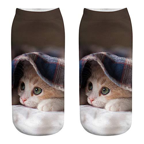 YJYDADA Socks,Unisex Funny 3D Fashion Cat Printed Casual Socks Cute Low Cut Ankle Socks (B)