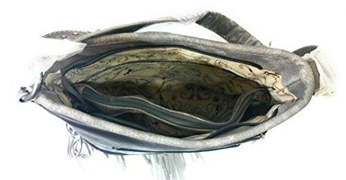 Buckle West Fringe Hippy Hobo Montana Shoulder Bag Purse Floral Black Carry Concealed 0RHtdq